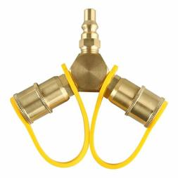 """1/4"""" RV Propane Quick Connect Y Splitter Adapter, Connect Tr"""
