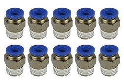 """10 Piece Pneumatic Air Quick Push to Connect Fitting 1/4"""" NP"""