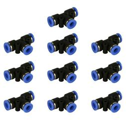 """10 Piece Pneumatic Air Quick Push to Connect Fitting OD 1/4"""""""