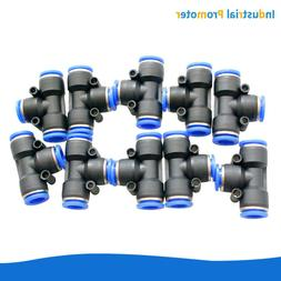 10PCS Pneumatic Air Quick Push to Connect Fitting Tee Tube O