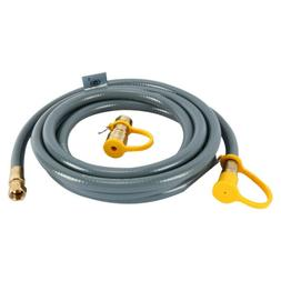 """12/24' 3/8"""" Propane Natural Gas Hose Grill Line with Quick C"""