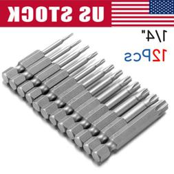 12pcs Security Torx Bit Set Quick Change Connect Impact Driv