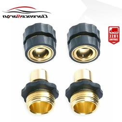 2 Pairs Universal Garden Hose Quick Connect Set Brass Hose T