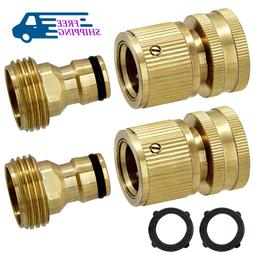 2 Set 3/4' Garden Hose Quick Connect Water Hose Fit Brass Fe
