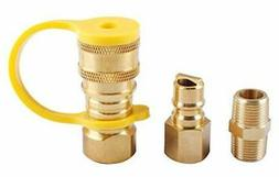 "3/8"" Natural Gas Quick Connect Fittings, LP Gas Propane Hose"