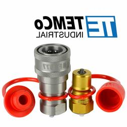 "3/8"" NPT Pair Coupler Hydraulic Quick Connect Poppet ISO 724"