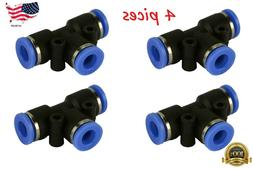 """4 Piece Pneumatic Air Quick Push to Connect Fitting 1/4"""" OD"""