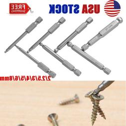 7pc Hex Ball Long Allen Bit Set Quick Connect Shank impact d