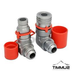 90 Degree Flat Face Hydraulic Quick Connect Coupler Set, 3/4