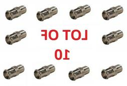 F Connector Push-On Adapter Quick Connect 10 Pack Plug Femal