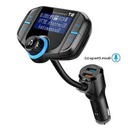 Bluetooth FM Transmitter with Quick Charge 3.0, Wireless Car
