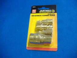 4 Piece Central Pneumatic Brass Quick Connect Starter Kit