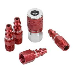 Coupler Plug Kit 5pc 1/4in NPT Type D Compressor Air Tool Ho
