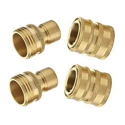 M MINGLE Garden Hose Quick Connect Fittings, 3/4 GHT Solid B