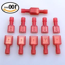 Glarks 100pcs 22-16 Gauge Fully Insulated Female Male Spade
