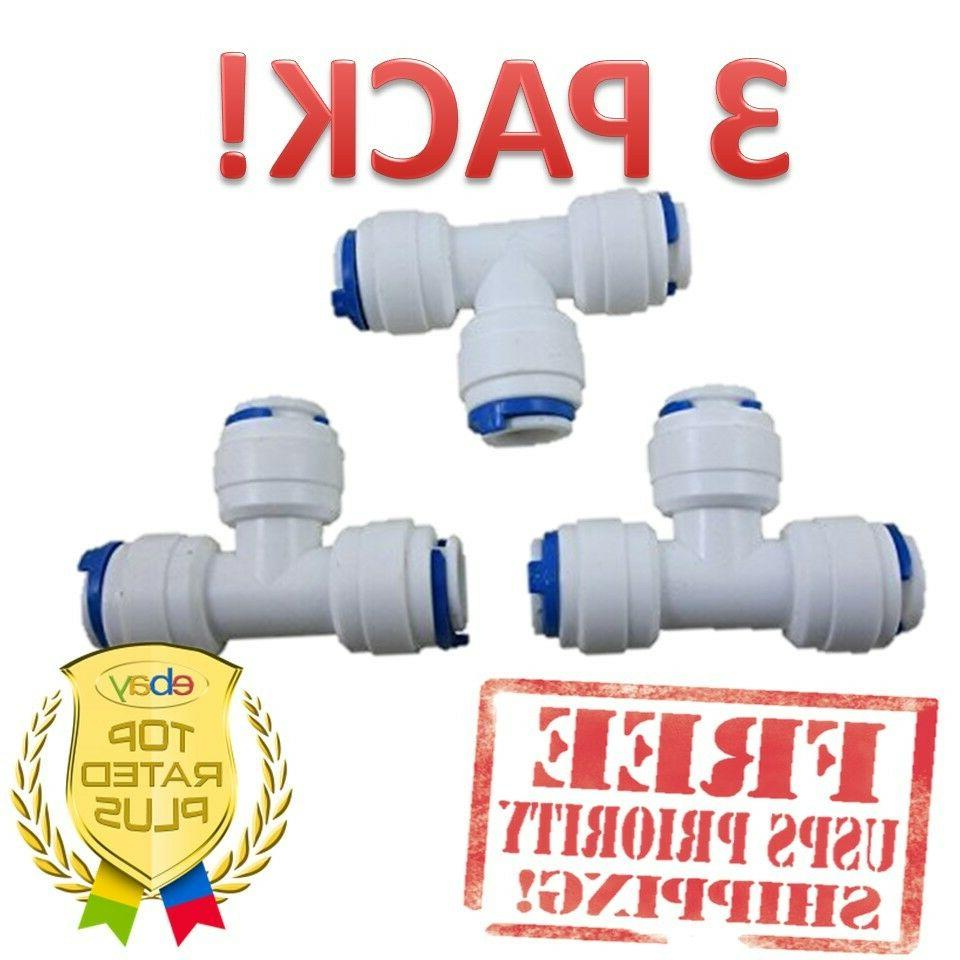 """1/4"""" 3-way Union Tee Quick Connect Push-Fit Reverse Osmosis"""