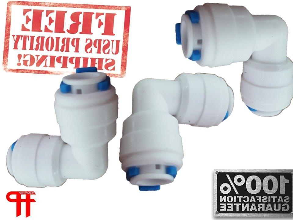 """1/4"""" Quick Connect Push Fit 90 Degree Elbow 3-PACK Reverse O"""
