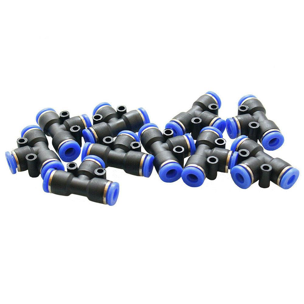 """10 Piece Pneumatic Quick to Fitting OD Tee """"T"""" Tube 6mm"""