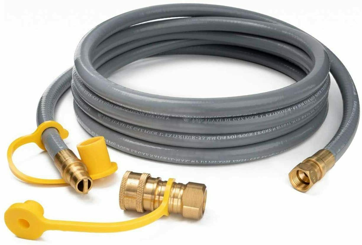 12ft Natural Gas Hose with Quick Connect Fittings, 1/2 Inch