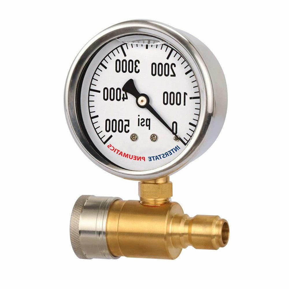 2-1/2 Inch Pressure Washer Pressure Gauge Kit Inch Quick Connect PSI