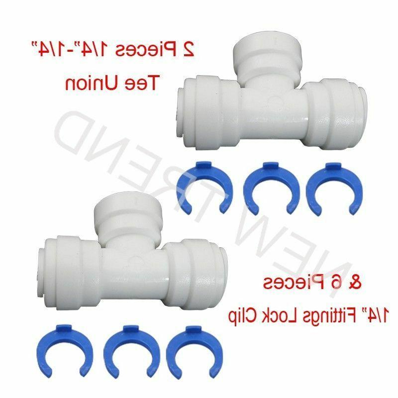 "2 Pcs 1/4"" Tee Union Quick Connect Fittings + 6 Lock clips R"