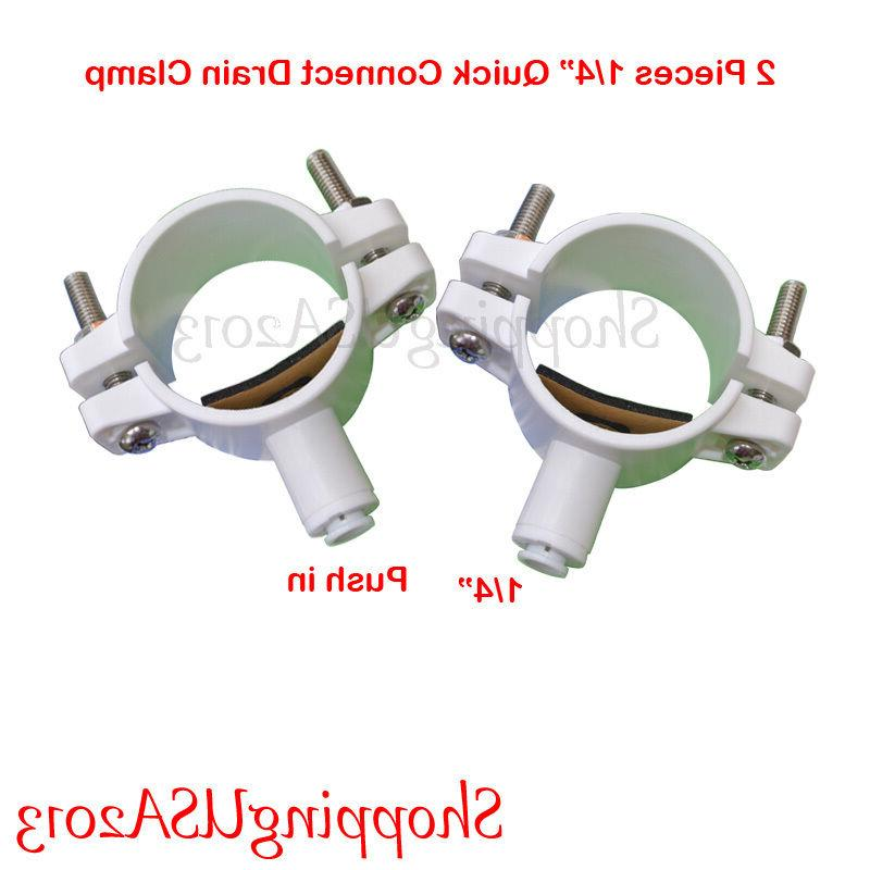 """2 Pcs Drain Clamp 1/4"""" Quick Connect Water Filter RO Reverse"""