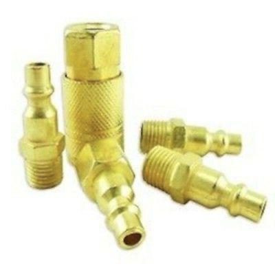 5 Pc Quick Connect Air Coupler Set Brass Air Hose Quick Coup