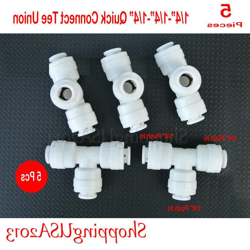 """5 X 1/4""""-1/4""""-1/4"""" Tee Union Quick Connect Fitting Connector"""
