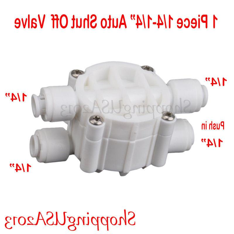 Auto Shut Off Valve 1/4 Quick Connect Fittings RO Reverse Os