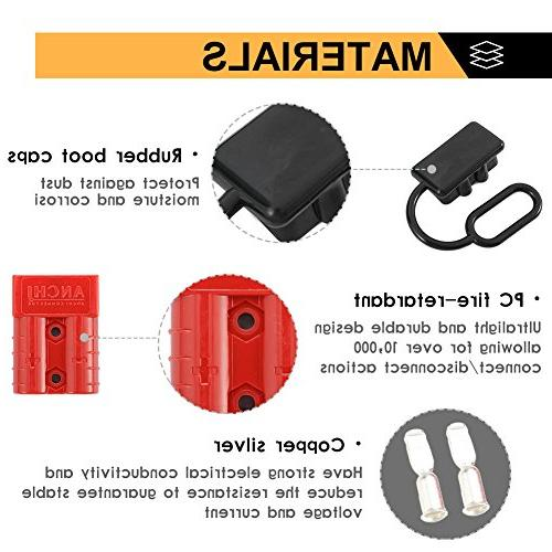 BUNKER INDUST Battery Quick Connect Harness Kit 6-10 Battery Cable Disconnect for Auto Car Driver Electrical Devices,4 Pcs,Red