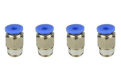 "4x TEMCo Pneumatic Air Quick Push to Connect Fitting 1/8"" NP"