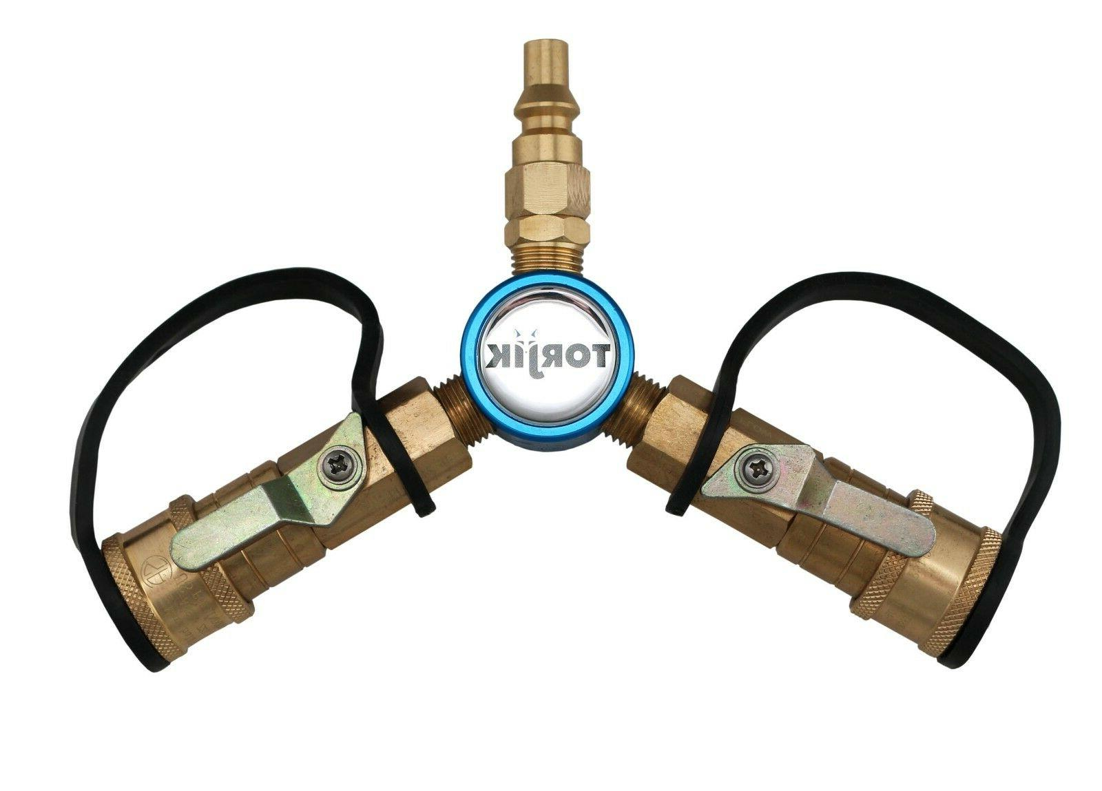 Propane Quick Connect Y Adapter with Shut-offs