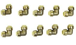 "1/2"" Push Fit Connection Elbow Fittings - 10 Pack Brass Fitt"