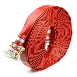 "Red 2"" x 50' Camlock Lay Flat PVC Discharge Hose with Quick"
