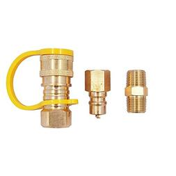 KIBOW 100% Solid Brass Propane/Natural Gas Quick-Connect Kit