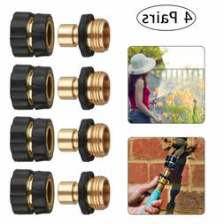4 Pairs Garden Hose Quick Connect Set Brass Hose Tap Adapter